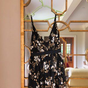 Express Mini Dress Black Tulle Gold Silver Dress